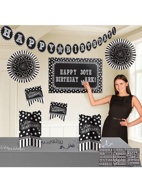 Black and White Birthday decoration kit