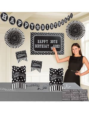 Kit de decoración cumpleaños negro blanco y negro