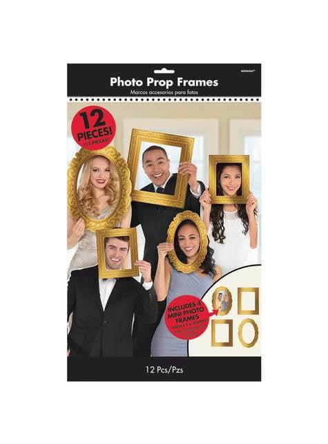 12 accessoires de Cadres variés pour Photo booth dorés