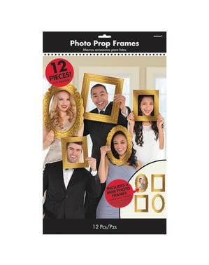 12 gold varied photo booth frames accessories