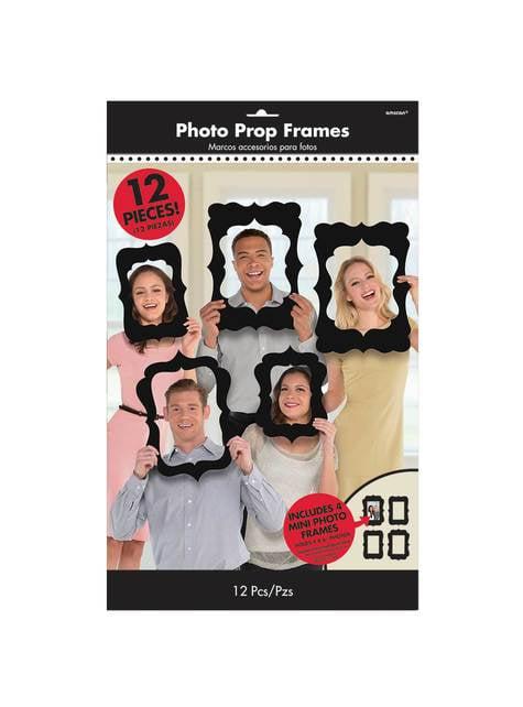 12 doplňků pro fotokoutek různé černé fotorámečky