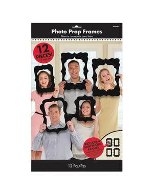 12 black varied photo booth frames accessories