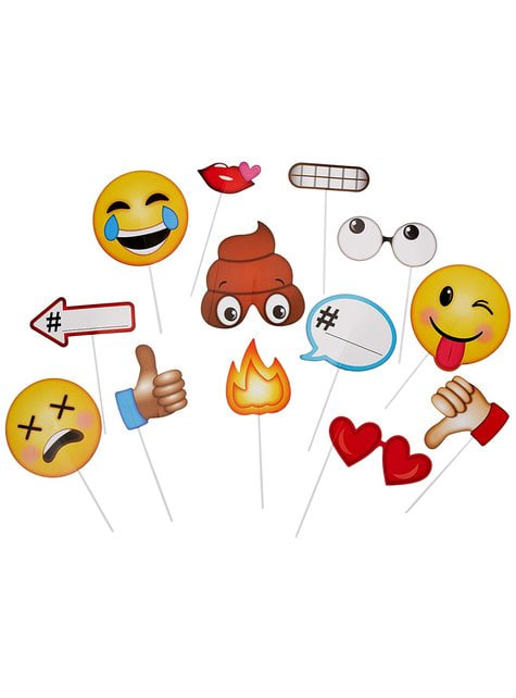 13 premium emoji photo booth accessories