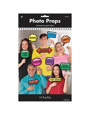 13 accesorios photocall de mensajes personalizable