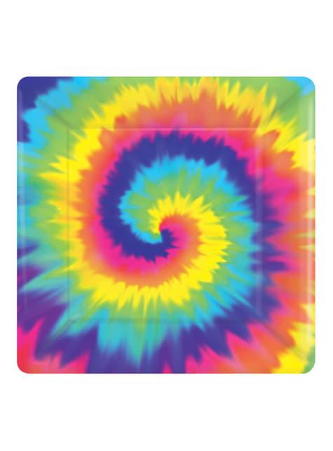 8 platos cuadrados hippie (26 cm)