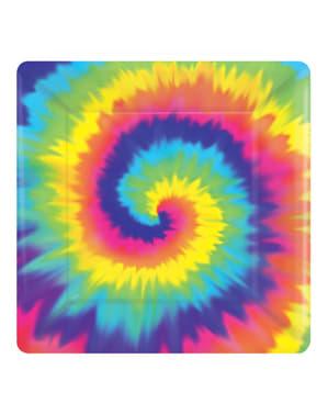 Sett med 8 Hippie firkant tallerkener