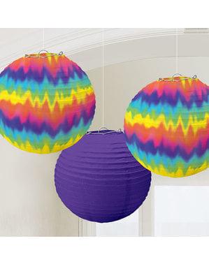 3-teiliges Papierlampen Set mit Hippie Motiv