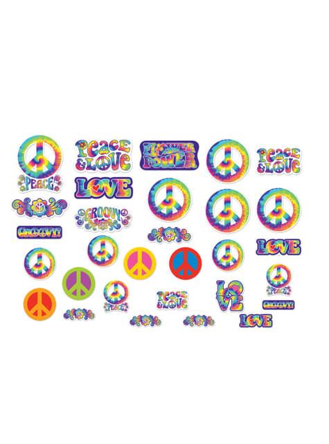 30-teiliges Schilder Set mit Hippie Motiv