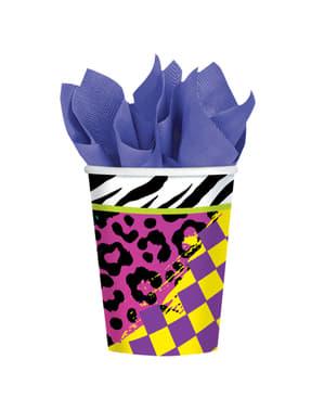 8 vasos de papel para fiesta de los 80