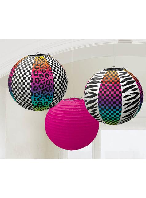 3-teiliges Papierlampen Set mit 80er Jahre Motiv