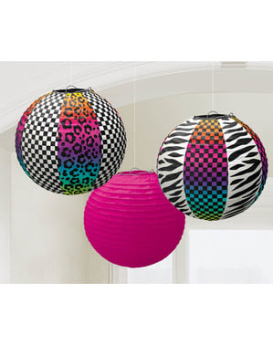 3 80s Party hanging decorative spheres