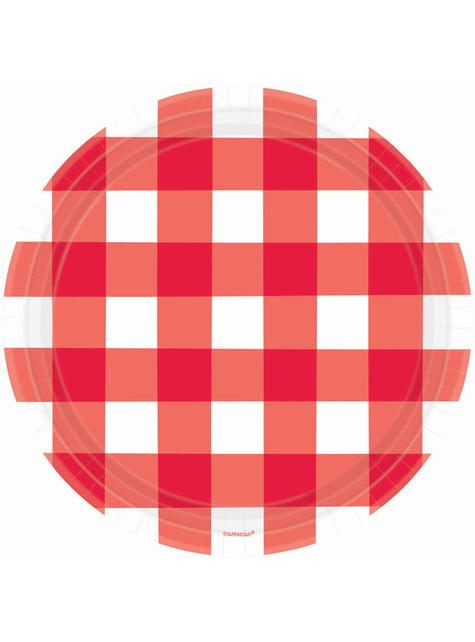 8 platos de cuadros rojos y blancos (26 cm)