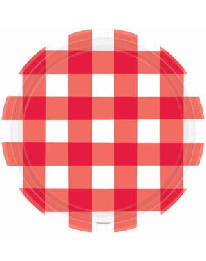 8 punavalkoista ruudullista lautasta