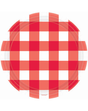 8 red and white plaid plates (26 cm)