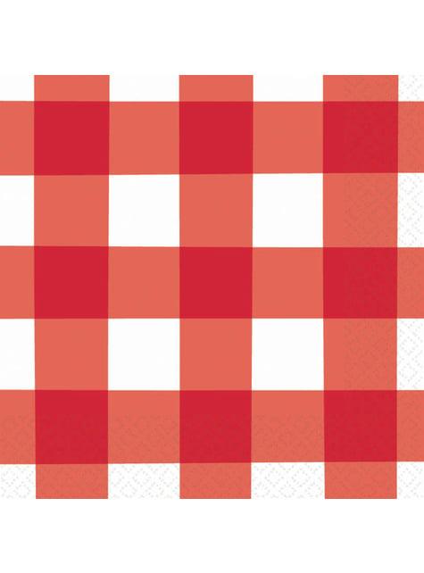 16 røde og hvide tern servietter