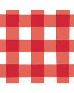 16 guardanapos de quadrados vermelhos e brancos