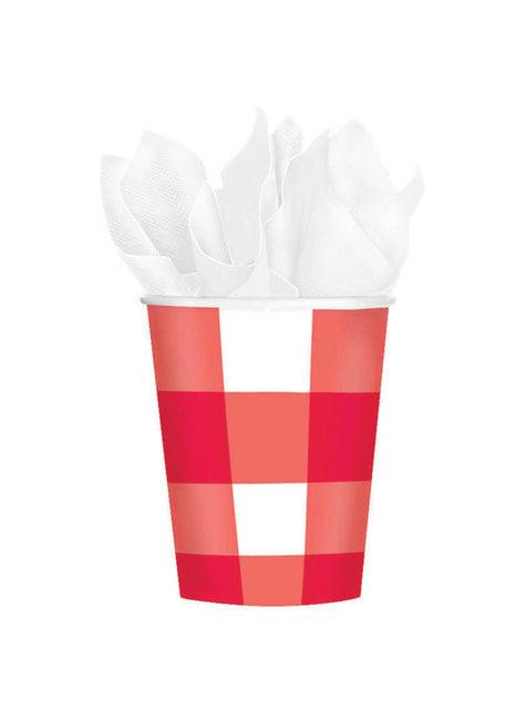 Σετ από 8 κύπελλα κόκκινου και λευκού χαρτιού