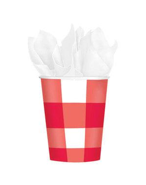 8 copos de papel vermelhos e brancos
