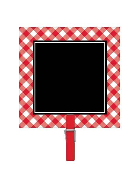 Conjunto de 8 cartazes de quadros de ardósia com mini mola vermelhos e brancos