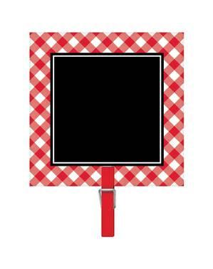 Zestaw 8 czerwono-białych mini tablic z mini spinaczem