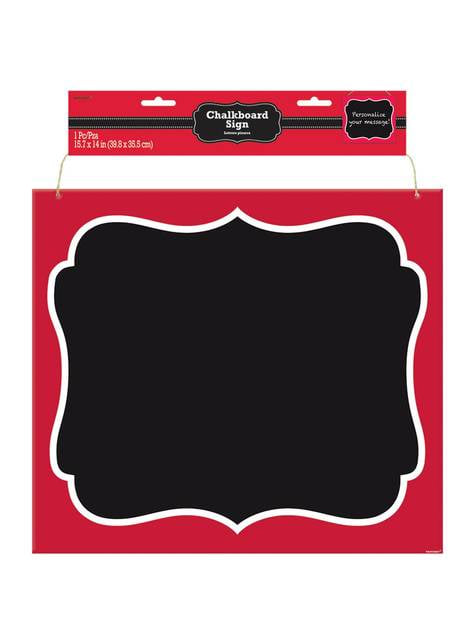 Aufhängbare Tafel mit rotem Rahmen