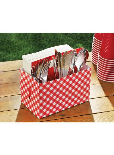 Caja de cartón para cubiertos de cuadros rojo y blanco