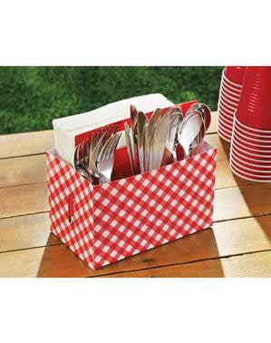 Boîte en carton pour couverts à carreaux rouge blanc