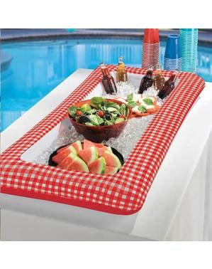 Nevera hinchable para piscina de cuadros rojos y blancos