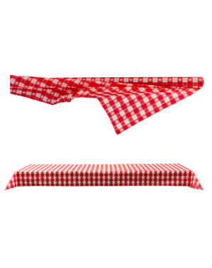 Red and white plaid table cloth roll