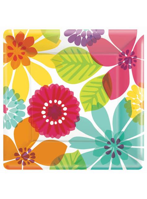 8 platos floral multicolor (25 cm)