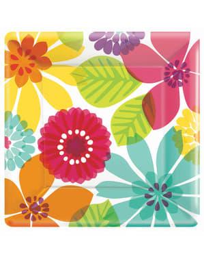 8 Multikleuren Bloemen borden (25 cm)