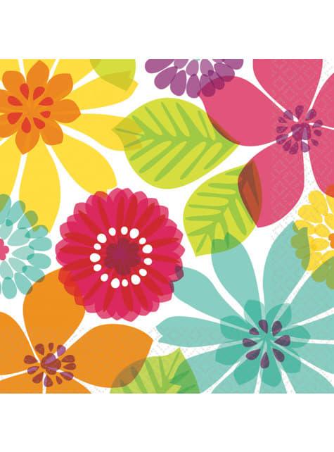 16 multikleuren bloemen servetten