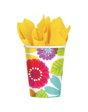 Zestaw 8 papierowych kubków w wielokolorowe kwiaty