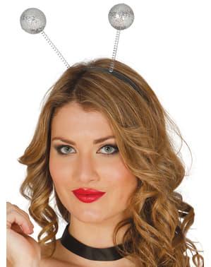 Serre-tête antennes argentées à paillettes