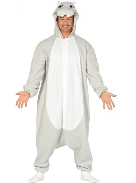 Flodhest onesie kostyme til voksne