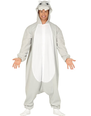 Costume da ippopotamo onesie per adulto