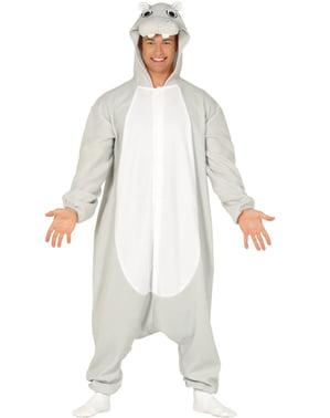 Hippopotamus onesie costume for adults