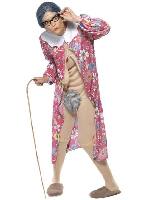 Disfraz de abuelita con la fuerza de la gravedad