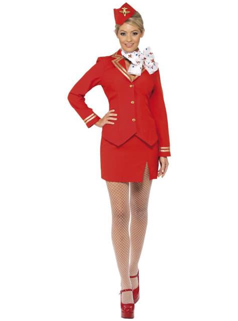 Rødt Stewardesse Kostume til Kvinder