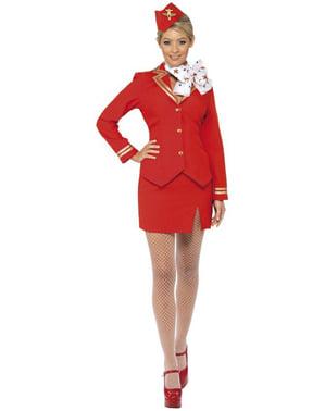 Stewardess Kostüm rot für Damen