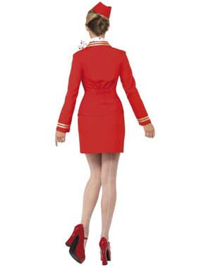 Costum roșu stewardes pentru femei