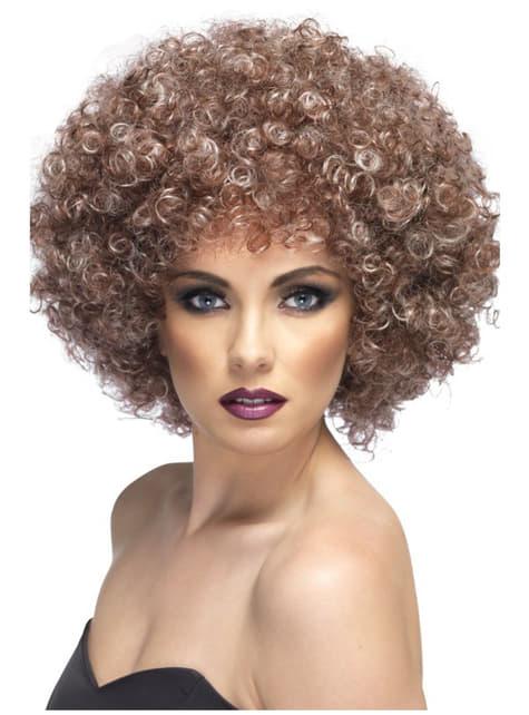Μεγάλη καστανά περούκα Afro