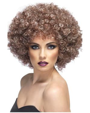 Мега размер светло кафяв перука афро