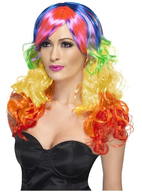 Parrucca arcobaleno riccia