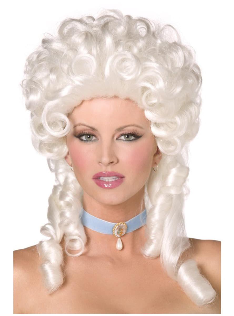 peluca barroca de tirabuzones blanca disfraz funidelia