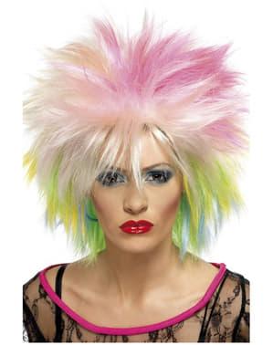 Peluca años 80 multicolor para mujer