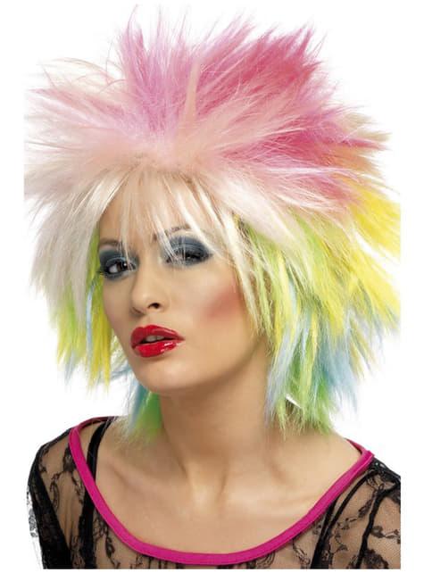 Peruca multicolorida anos 80 para mulher
