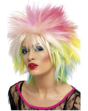 Parrucca anni 80 multicolore per donna