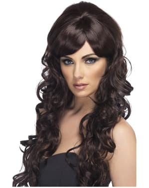Parrucca lunga marrone con ricci