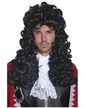 Perruque longue et bouclée de capitaine pirate
